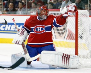 Canadiens' netminder Jaroslav Halak makes one of his 53 saves in G6 v. Washington
