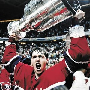 Canadiens rookie Patrick Roy with '86 Cup