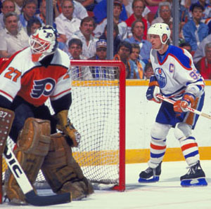 Flyers' Ron Hextall, Oilers' Wayne Gretzky