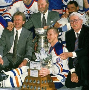 Glen Sather, Peter Pocklington, Wayne Gretzky, John Muckler