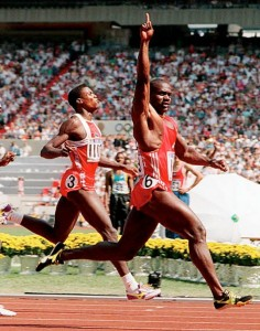 Iconic shot of Johnson crossing the finish line in Seoul