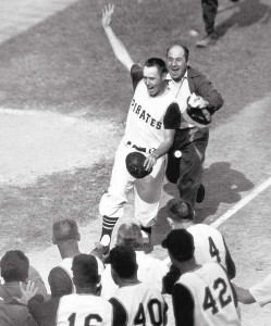 Pirates' third baseman Bill Mazeroski scores winning run in 1960 World Series at Forbes Field