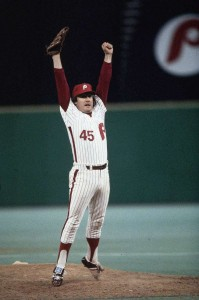 Phillies' closer Tug McGraw celebrates Phillies first-ever World Championship in 1980
