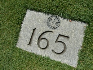 Yardage marker on par-three 16th