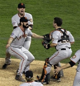 Giants' closer Brian Wilson greets Buster Posey after their 2010 World Series win