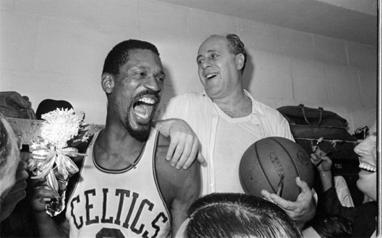 Bill Russell celebrates NBA Championship