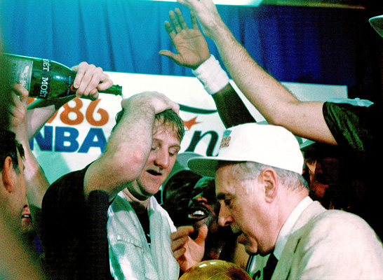 Larry Bird, Red Auerbach celebrate Boston Celtics' 1986 NBA Championship
