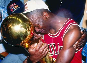 Michael Jordan following 1991 NBA Championship