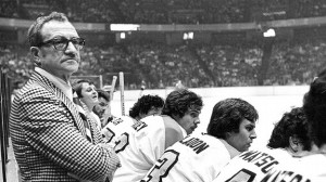 Fred Shero, behind the Flyers' bench
