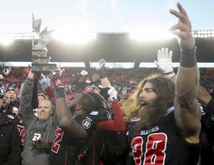 Ottawa Redblacks celebrate 2015 CFL East Division title