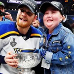 Colton Parayko, superfan Laila Anderson with 2019 Stanley Cup